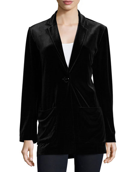 Velvet Button-Front Jacket, Petite