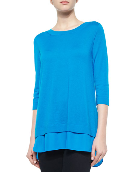 Neiman Marcus Cashmere Collection 3/4-Sleeve Chiffon Trim Sweater