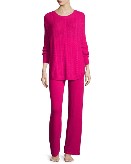 Neiman Marcus Cashmere Collection Cashmere Cable-Knit Top &