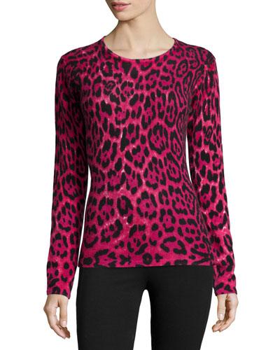 Cashmere Long-Sleeve Leopard-Print Top