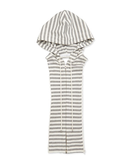 Striped Hoodie Dickey, White/Gray