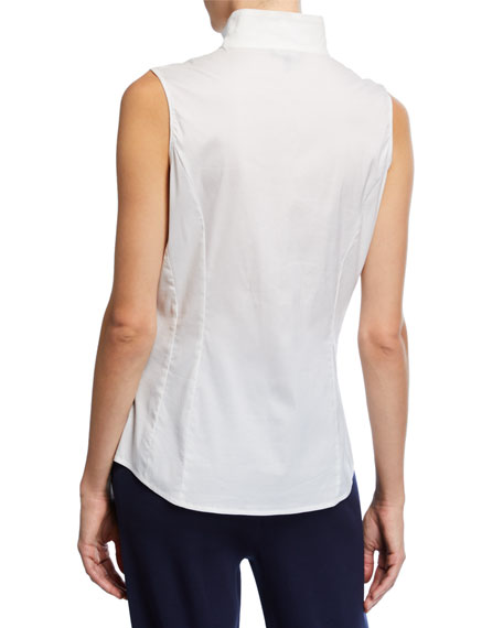 Sleeveless Stretch-Cotton Shirt