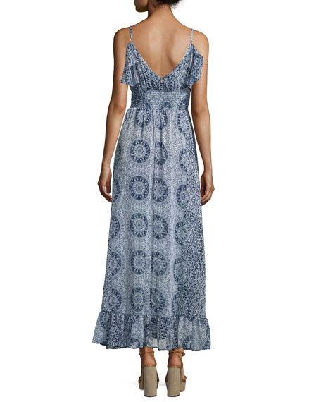 Castelle Ruffle-Trim Maxi Dress, Navy/White