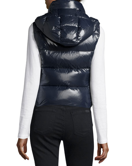 Galene Shiny Hooded Vest, Navy