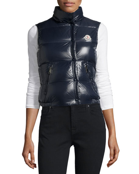 Galene Shiny Hooded Vest, Navy