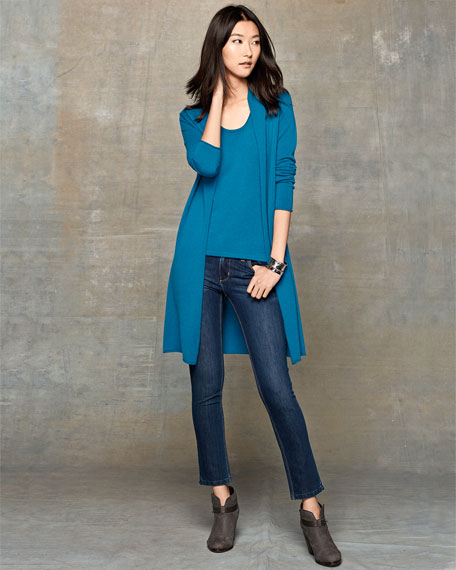 Long Cashmere Duster Cardigan, Plus Size
