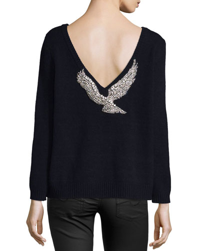 Opium Embellished V-Back Sweater