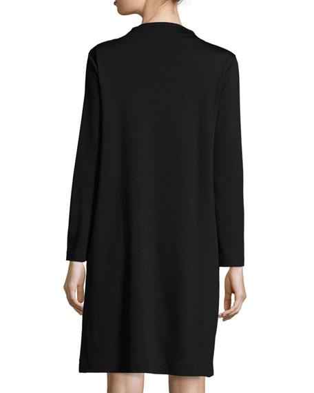 Long-Sleeve Drape-Front Knit Dress, Petite