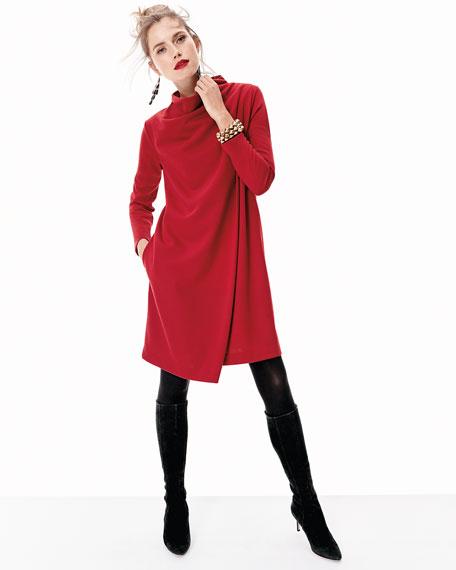 Long-Sleeve Drape-Front Knit Dress