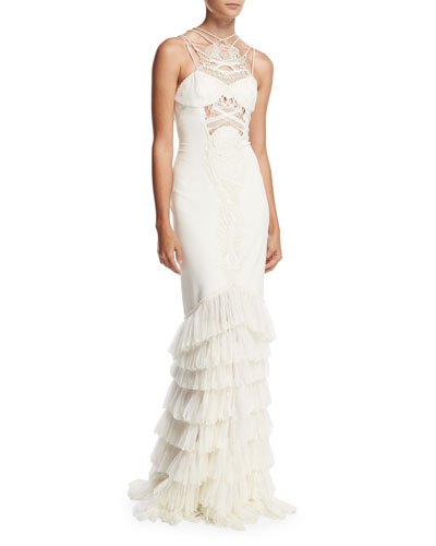 Guipure Lace & Tulle Crepe Gown