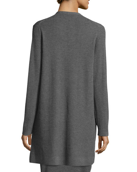 Eileen Fisher Plus Size Washable Wool Ribbed Long Cardigan