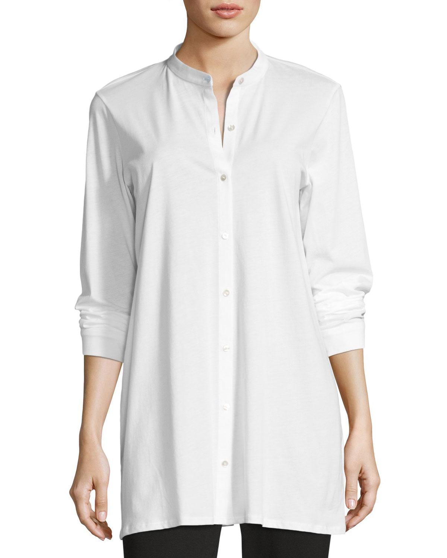 a243521484f Eileen Fisher Mandarin-Collar Easy Organic Jersey Tunic | Neiman Marcus