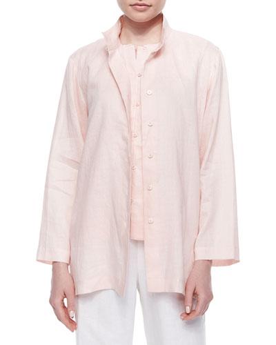Plus Size Linen Button-Front Jacket