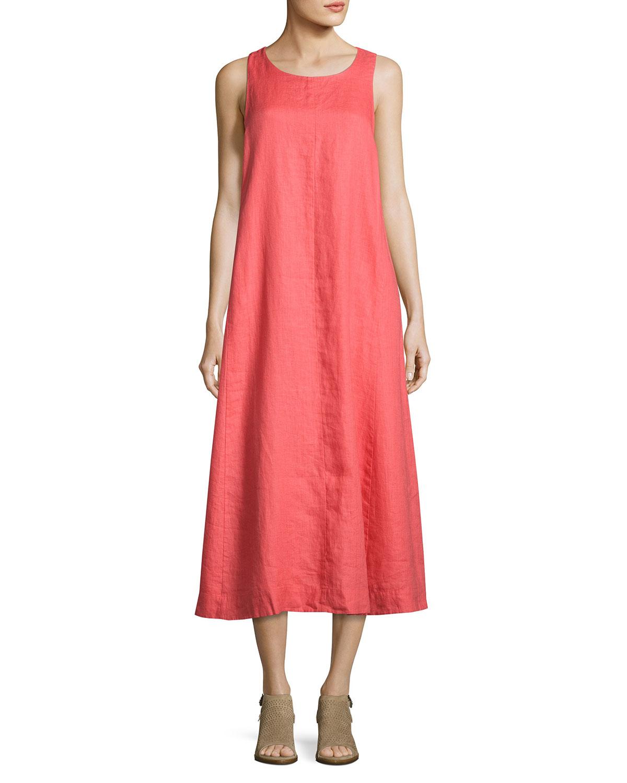 494171071e6 Eileen FisherSleeveless Organic Handkerchief Linen Long Dress