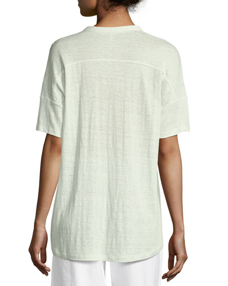 Short-Sleeve Button-Front Linen Jersey Top