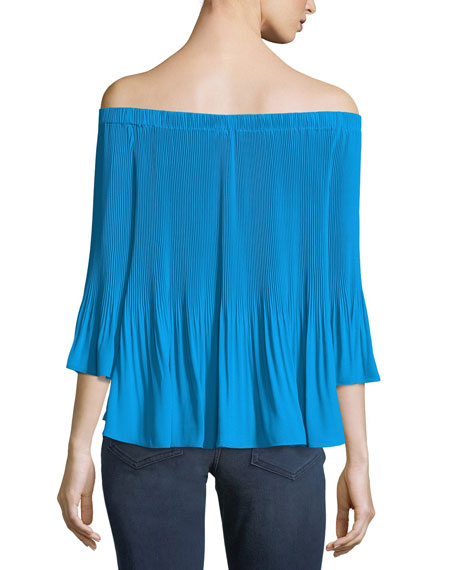 Off-the-Shoulder Pleated Top