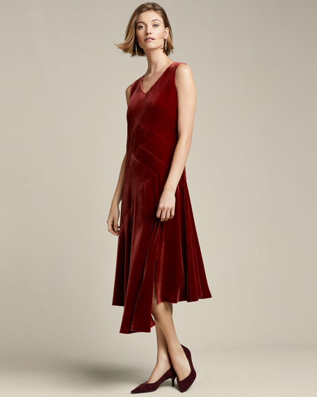Image 2 of 4: Lafayette 148 New York Ashlena V-Neck Sleeveless Asymmetric Draped Velvet Midi Dress