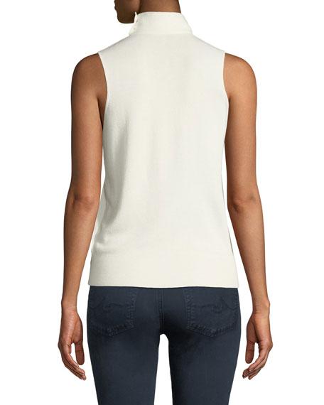 Theory Choker-Collar V-Neck Sleeveless Fine Silk/Cashmere Top