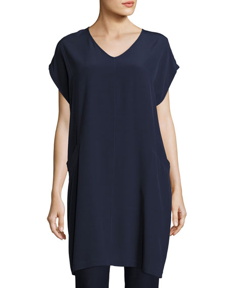Eileen Fisher Plus Size Short Sleeve Crinkle Crepe Tunic
