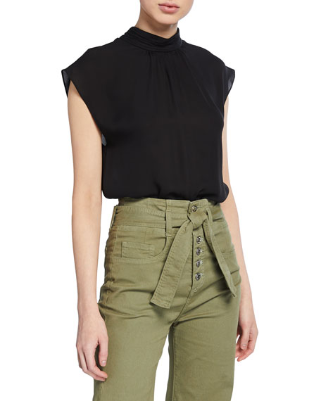 Veronica Beard Tristen Mock-Neck Short-Sleeve Blouse