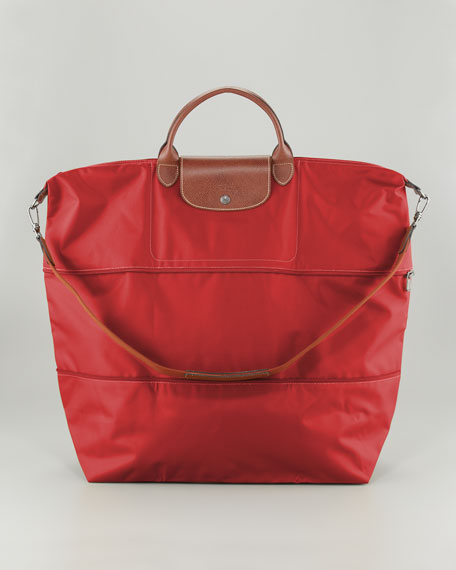 Longchamp Le Pliage Expandable Monogram Travel Bag, Red
