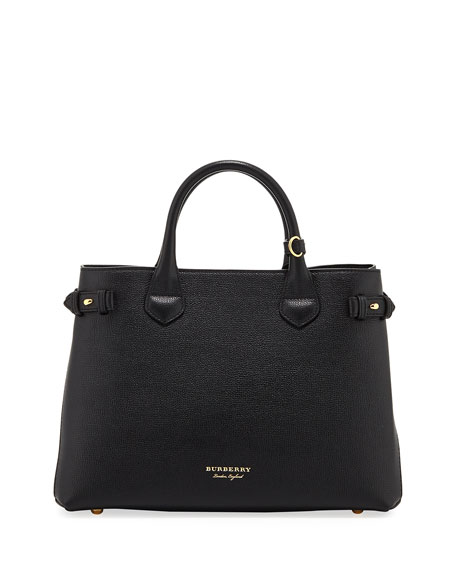 Burberry Leather & Check Canvas Tote Bag, Black