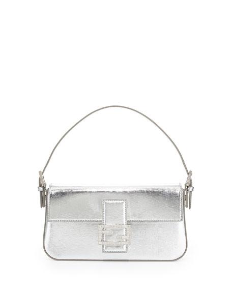 Fendi Metallic Leather Baguette Shoulder Bag, Silver