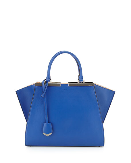 Fendi 3 Jours Leather Satchel Bag, Cobalt/Nude