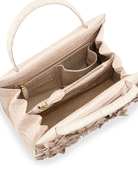 Wallis Mini Floral Crocodile Satchel Bag, Pearl Matte