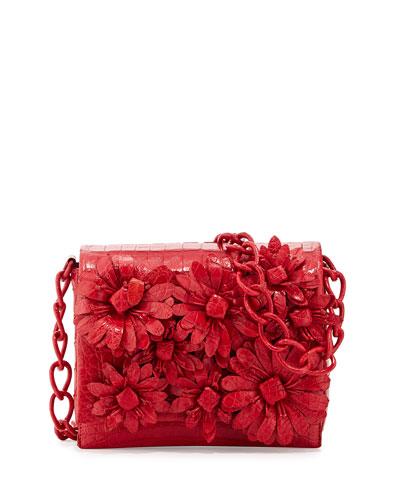 Small Crocodile Flower Chain Bag, Red