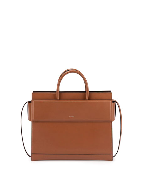 Horizon Small Leather Satchel Bag, Caramel