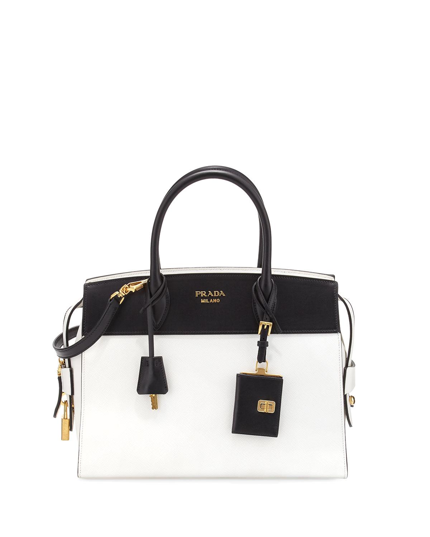 10e31432b841 Prada Esplanade Medium Bicolor City Satchel Bag | Neiman Marcus