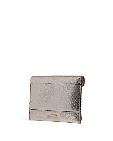 Rebecca Minkoff Leo Metallic Leather Clutch Bag, Champagne