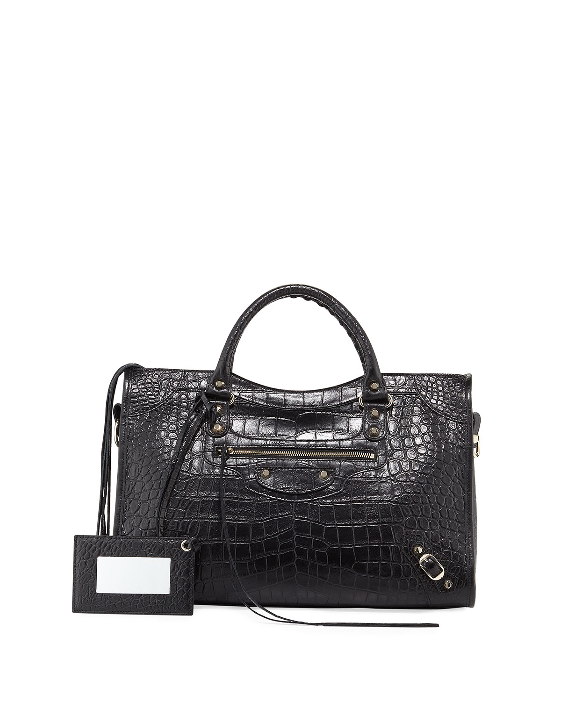 08b0966723 Balenciaga Classic City Crocodile-Effect Shoulder Bag | Neiman Marcus