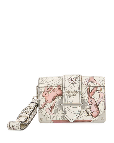 Prada Glace Rabbit-Print Medium Shoulder Bag