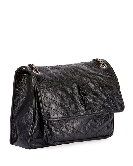 Niki Medium Monogram YSL Shiny Waxy Quilted Shoulder Bag
