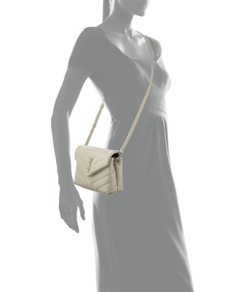Loulou Monogram YSL Mini V-Flap Calf Leather Crossbody Bag - Nickel Oxide Hardware