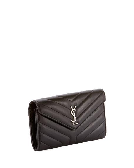 Saint Laurent Loulou Monogram YSL Continental V-Flap Wallet