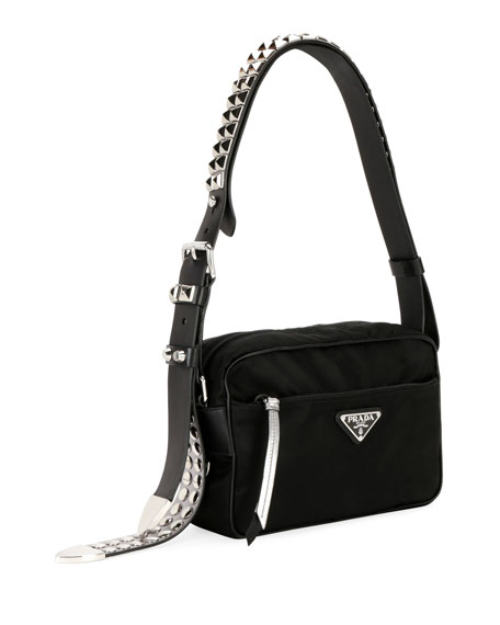 Image 3 of 4: Prada Black Nylon Shoulder Bag with Studding