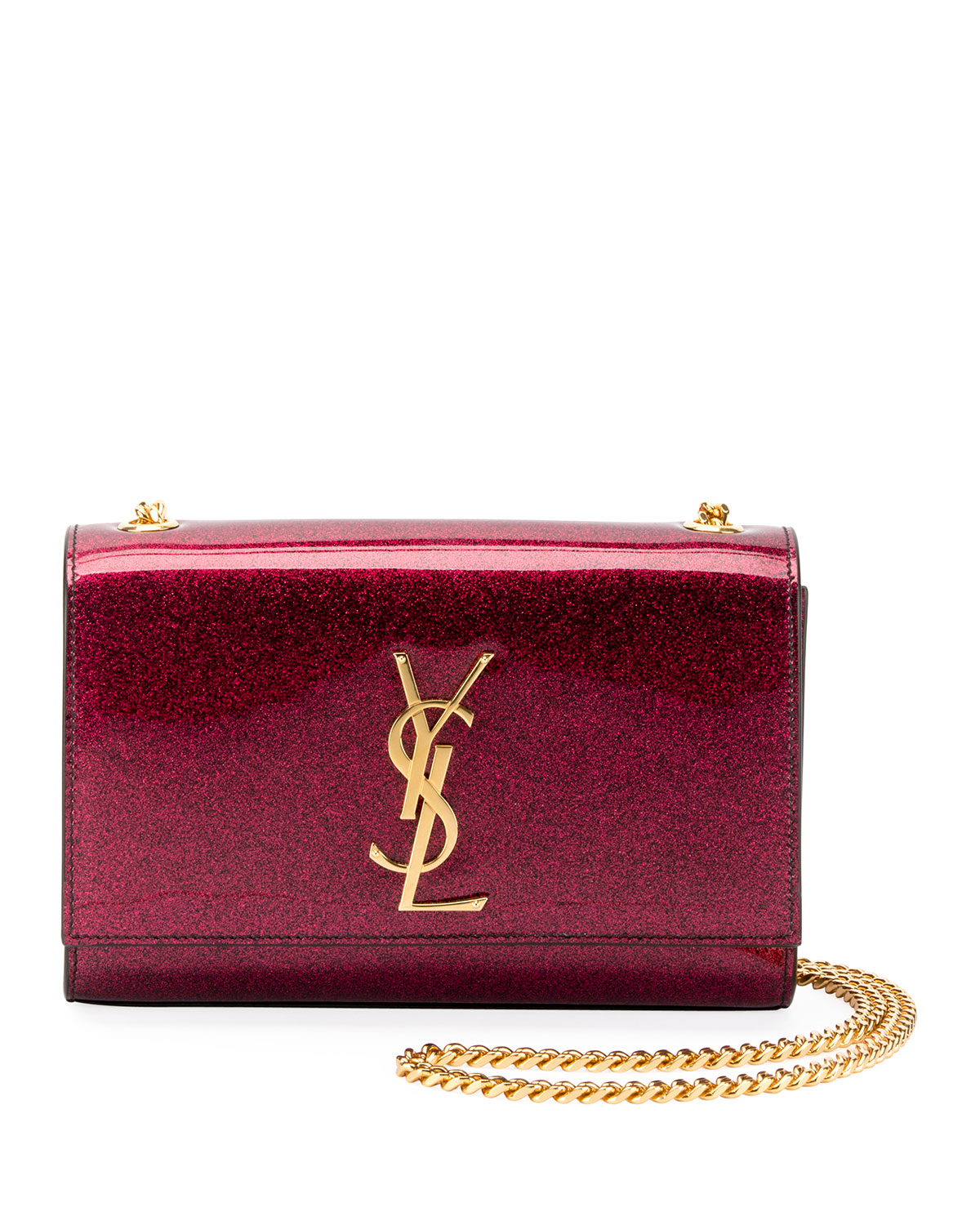 1e61f1b6bceca Saint Laurent Kate Monogram YSL Small Glitter Patent Crossbody Bag ...