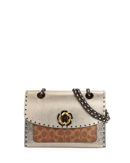 f6454105f7f5d Coach 1941 Parker Border Rivets Signature Coated Canvas Shoulder Bag ...