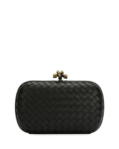 Bottega Veneta Leather Woven Knot Box Clutch Bag