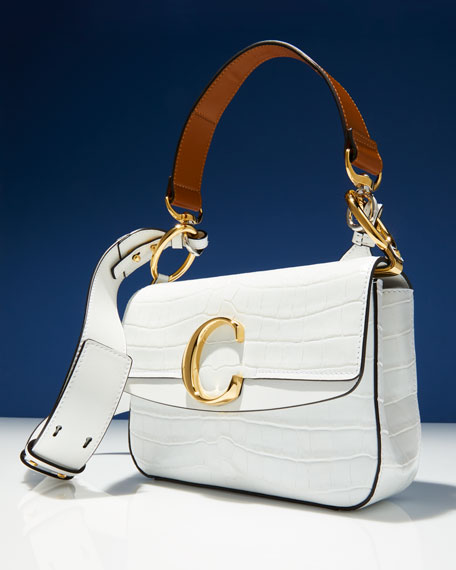 Image 2 of 5: C Croc-Embossed Leather Shoulder Bag