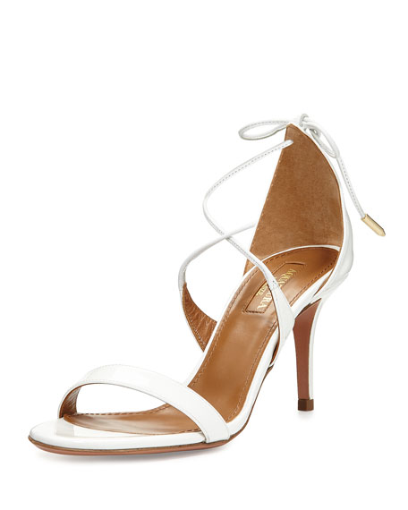 Aquazzura Linda Patent Leather 75mm Sandal, White