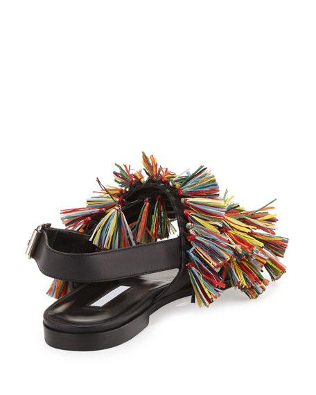 Cuture Fringe Flat Slingback Sandal, Multicolor/Black