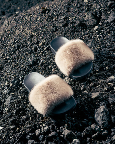 Image 2 of 3: Mink-Fur Flat Slide Sandal
