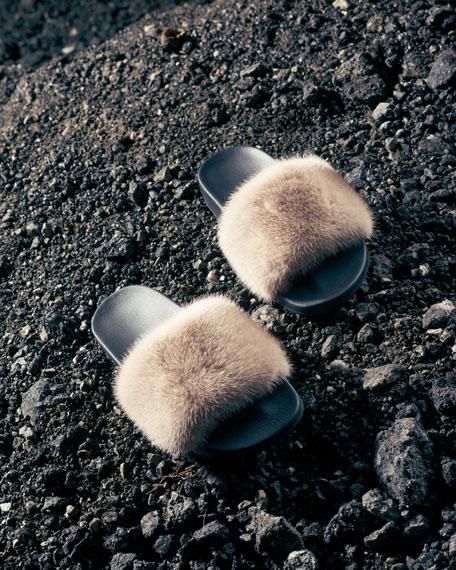 Mink-Fur Flat Slide Sandal