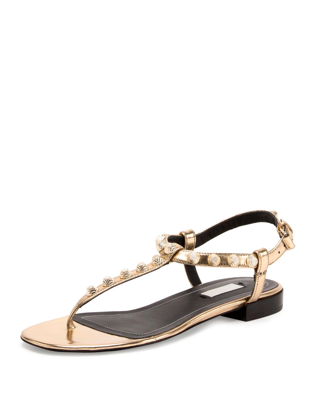 3c86fc3ea0c9 Balenciaga Studded Leather T-Strap Sandal