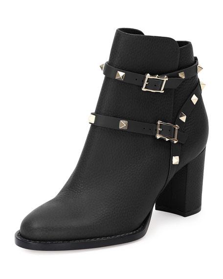 b31a1422e2e37 Valentino Garavani Rockstud Leather 70mm Chunky-Heel Bootie   Neiman Marcus