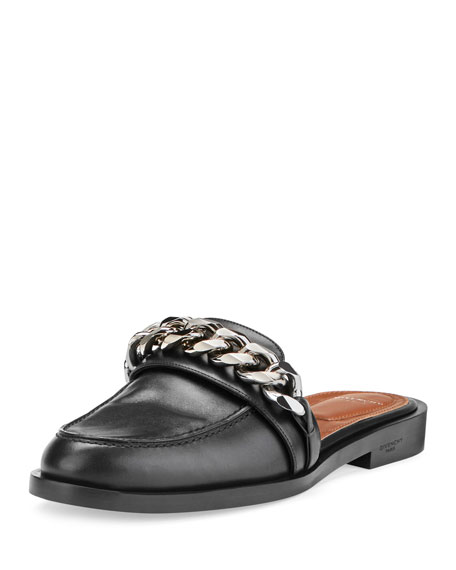 Givenchy Chain Leather Loafer Mule, Black